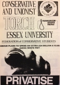 Essex University Conservative and Unionist Torch, circa 1986